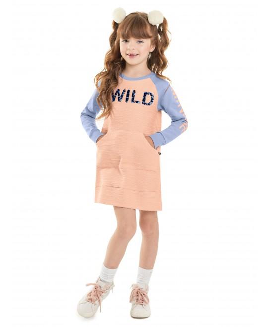 Vestido Infantil Manga Longa Wild - Minore