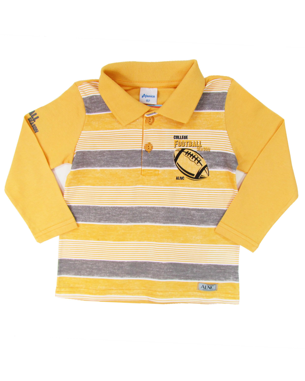 Camiseta Infantil Primeiros Passos Menino Amarela Gola Polo Manga ... 74b286dc952c6