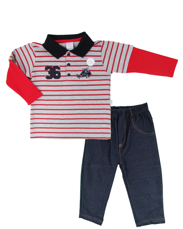 269064be8 Conjunto Infantil Primeiros Passos Masculino com Calça em Malha ...