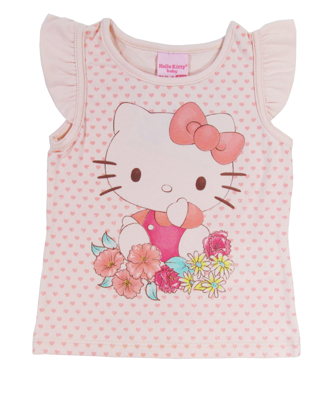 b210c6ebd3 Blusa Bebê Menina Infantil Manga Curta Flores Hello Kitty ...