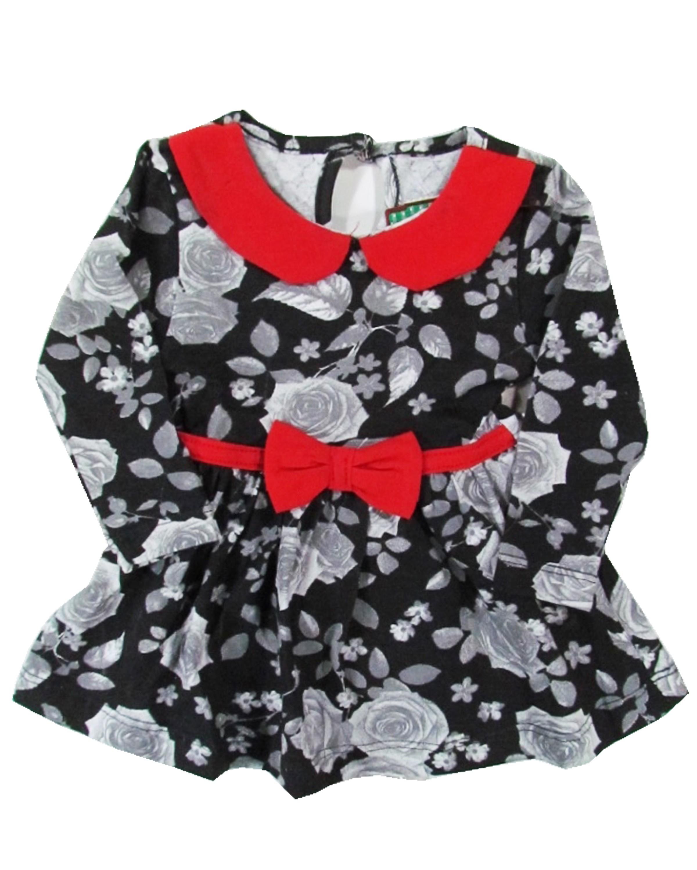Vestido Bebê em malha Estampada Barato Florido Manga Longa com Laço ... adc9b075617