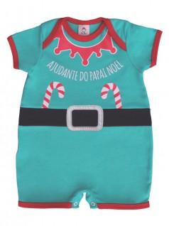 Macacão Bebê Curto Ajudante Papai Noel - Piu Blu