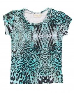 Blusa Estampada Animal Print Turquesa - Vrasalon