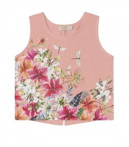 Blusa Infantil Cropped Flores Brilhantes - Trick Nick