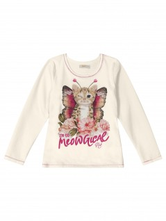 Blusa Infantil Manga Longa Meow - Trick Nick