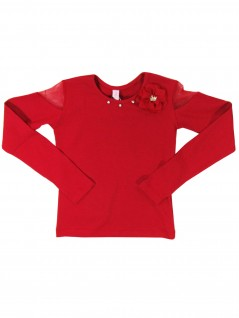 Blusa Infantil Vermelha Flor de Tecido - Dente D'Leão