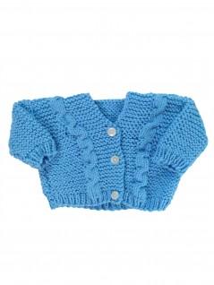 Casaquinho de Lã Azul Trançado - Albarella Infantil