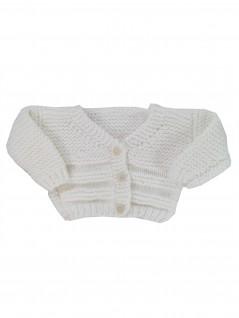 Casaquinho de Lã Branco em Ponto Tricot - Albarella Infantil
