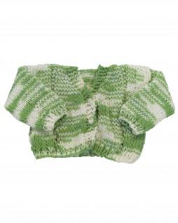 Casaquinho de Lã Mesclado Verde e Branco - Albarella Infantil