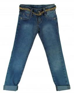 Calça Jeans Infantil com Cinto Dourado - Akiyoshi