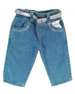 Calça Jeans Feminina com Cinto Prateado - Zerinho