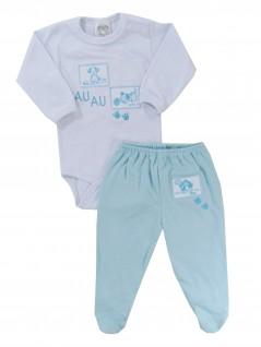 Conjunto Bebê de Body e Calça Au Au Azul  - Hira-Imi