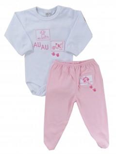 Conjunto Bebê de Body e Calça Au Au Rosa  - Hira-Imi