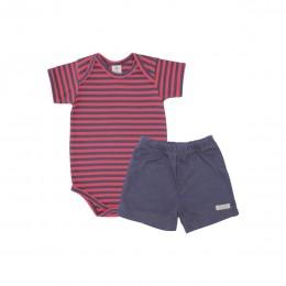 Conjunto Para Bebê Body com Shorts Listrado - Piu Blu