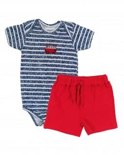 Conjunto Para Bebê Body com Shorts Kombi - Piu Blu