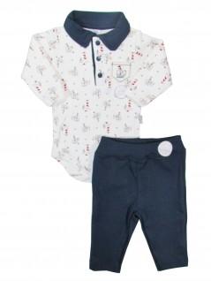 Conjunto Bebê de Body Gola Polo e Calça Urso no Barco- Piu Piu