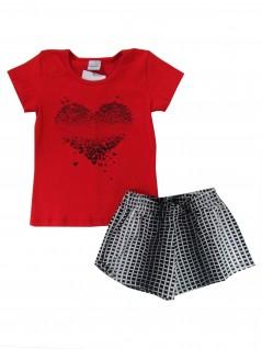 Conjunto Infantil Canelado Coração Vermelho - Rovitex
