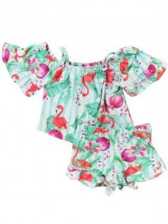 Conjunto Menina com Blusa Cropped e Shorts - Trick Nick