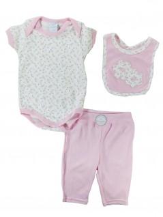 Conjunto Bebê Body Calça Flores -  Piu Piu
