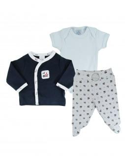 Conjunto para Bebê Calça, Body e Casaco Trenzinho - PiuPiu