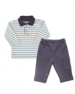 Conjunto Infantil Gola Polo Listrado Azul Claro - Piu Blu