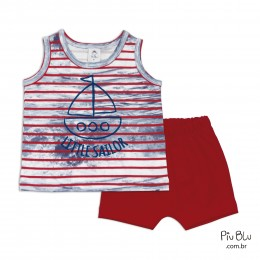 Conjunto Bebê Camiseta Regata e Shorts Little Sailor - Piu Blu