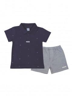 Conjunto Infantil Polo Estampada com Bermuda- Piu Blu