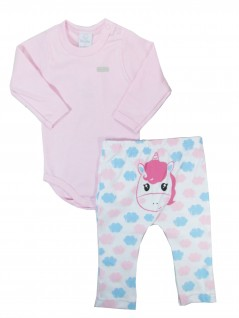 Conjunto Bebê Menina Body Manga Longa e Calça Unicórnio - Piu Piu