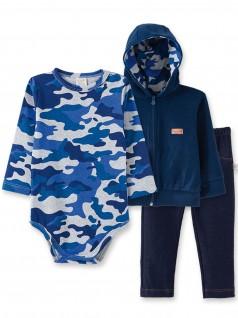 Conjunto para Bebê Body, Calça Jeans e Casaco Camuflado  - Pingo Lelê