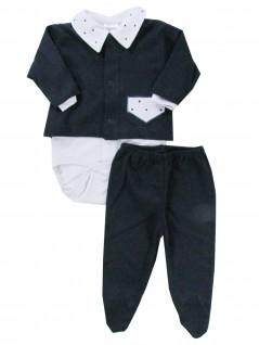 Conjunto de Body Calça e Casaquinho Bolso Pontinhos  - Hira-Imi