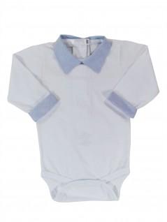 Body com Gola de Camisa Azul Lisa - Pic Nic