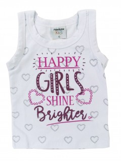Blusa Bebê Regata Happy Girls - Rovitex