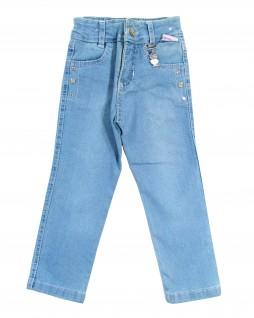 Calça Jeans Stretch Feminina com Enfeite de Coruja - Bielzinho
