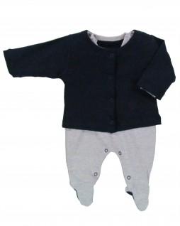 Macacão  para Bebê com Casaquinho para Bebê Trator - Estrelinha Azul