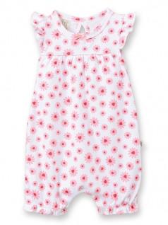 Macacão Curto para Bebê Margaridas Goiaba - Pingo Lelê