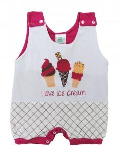 Macacão Curto Menina I Love Ice Cream - Charanguinha