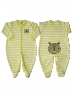 Macacão Bebê Unissex Listrado Amarelo com Aplicação - Piu Blu