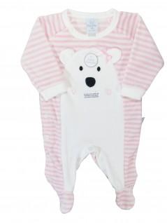 Macacão Longo para Bebê Plush Listrado Urso Rosa - Piu Piu