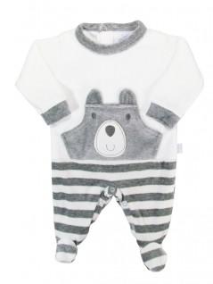 Macacão para Bebê em Plush Urso Cinza - Piu Piu