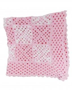 Manta de Lã Feita à Mão Quadradinhos Rosa - Albarella