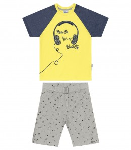 Conjunto Infantil Bermuda Sarja Music On - Trick Nick