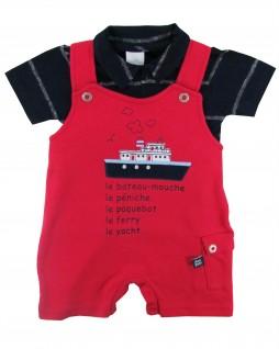 Salopete com Polo para Bebê Navio - Ano Zero