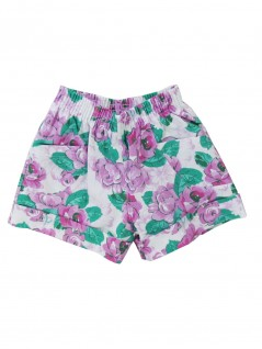 Shorts Infantil Rosas Barra Italiana Branco - Charmy Eye