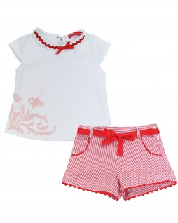 Conjunto Infantil de Shorts Listrado e Blusa Lisa - Casa de Bonecas