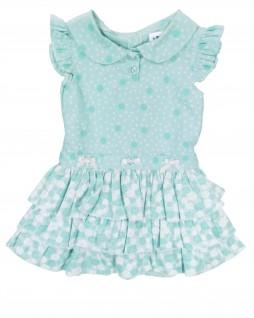 Vestido Infantil com Três Babados Verde - Cleusinha