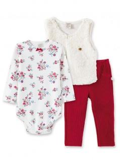 Conjunto Bebê Body, Calça e Colete Floral - Pingo Lelê