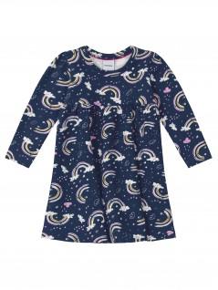 Vestido Infantil Manga Longa Arco-Iris - Rovitex