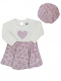 Vestido com Boina para Bebê Coração Aplicado - Minore