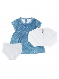 Trijunto  Vestido, Casaquinho e Calcinha - Piu Blu