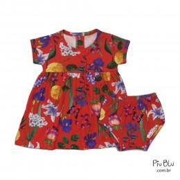Vestido para Bebê com Cobre Fralda Flores  - Piu Blu